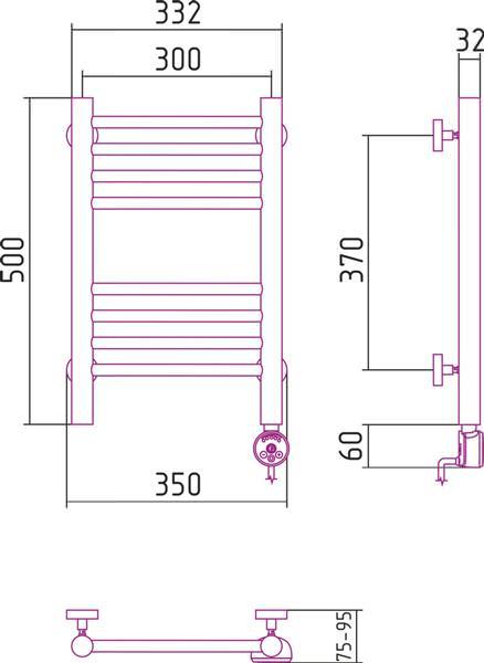 Полотенцесушитель Сунержа Богема электрический 50 30 см в