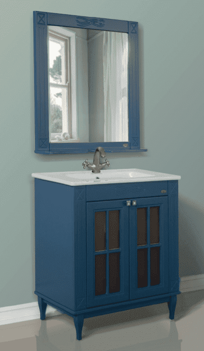 Мебель в ванную синяя расположение плиток ванных комнат